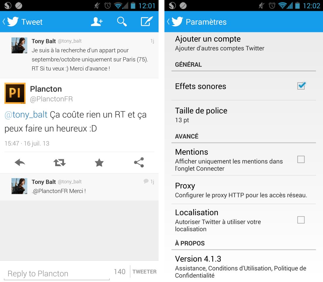 Twitter 4.1.3, une mise à jour mineure sur Android