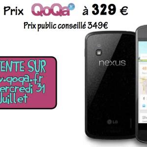 Qoqa propose le Nexus 4 16 Go à 329 euros le 31 juillet
