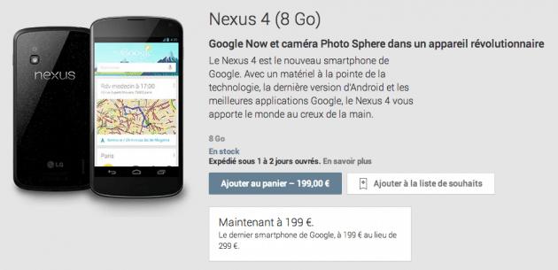 Le Nexus 4 (8 Go) en rupture de stock aux États-Unis