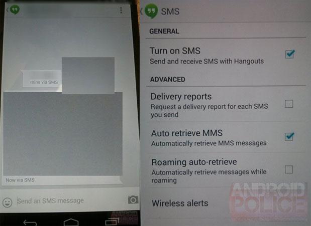 Hangouts : bientôt la prise en charge des SMS et MMS dans l'application ?