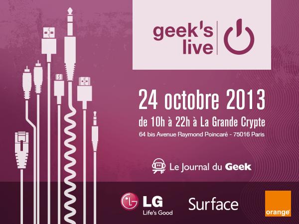 La Geek's Live #6 se tiendra le 24 octobre à Paris