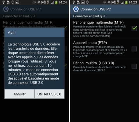 L'USB 3.0 du Samsung Galaxy Note 3 est limité sur PC et n'est pas compatible avec Mac