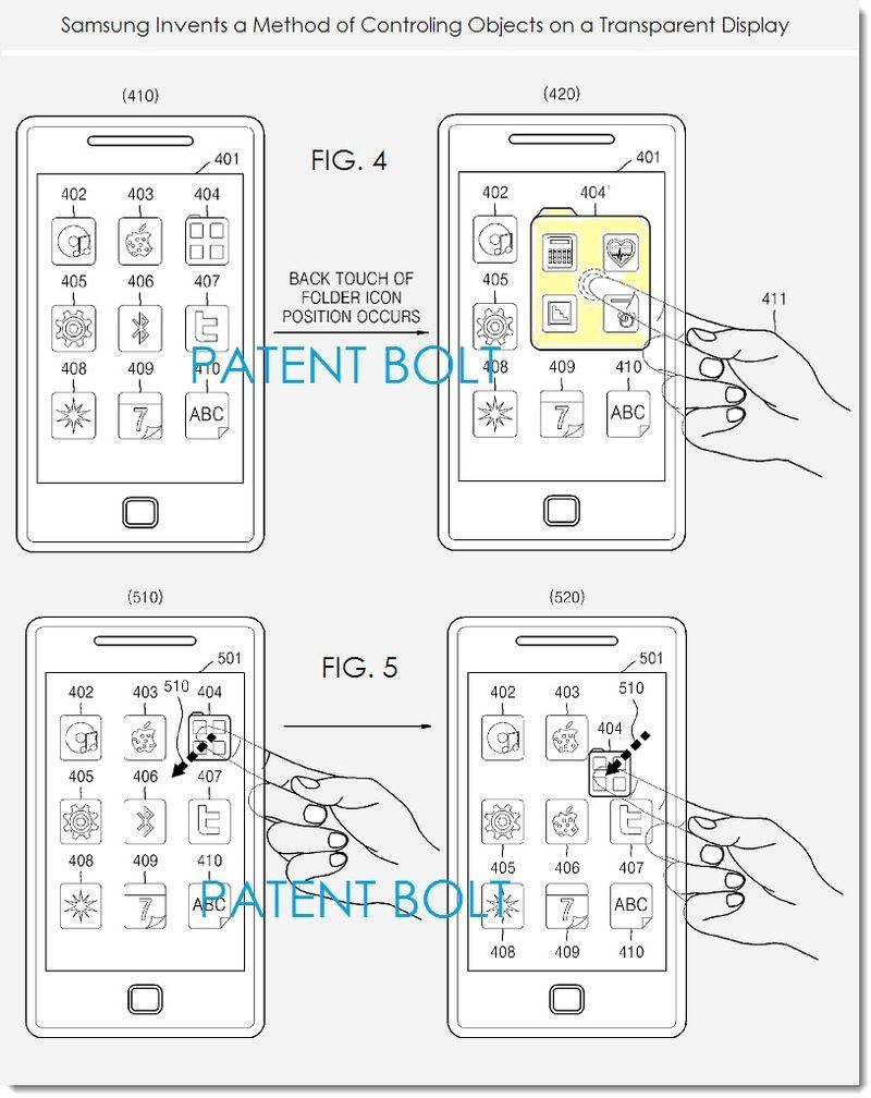 Samsung : des écrans transparents avec commande tactile à l'arrière au menu