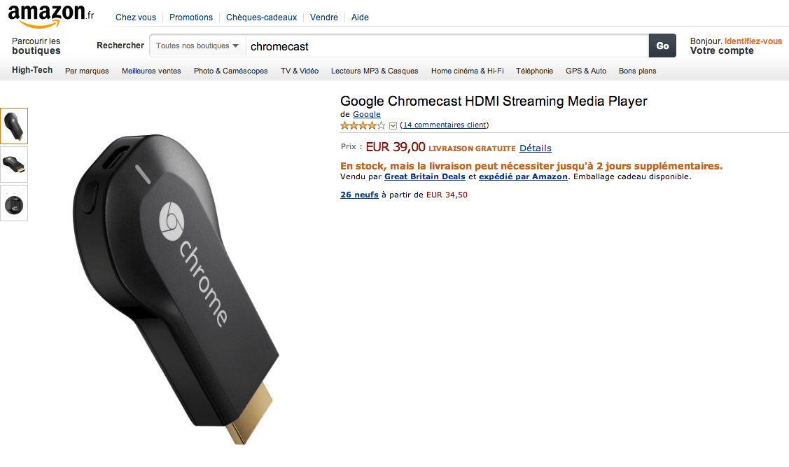 Le Chromecast est disponible à 39 euros sur Amazon France