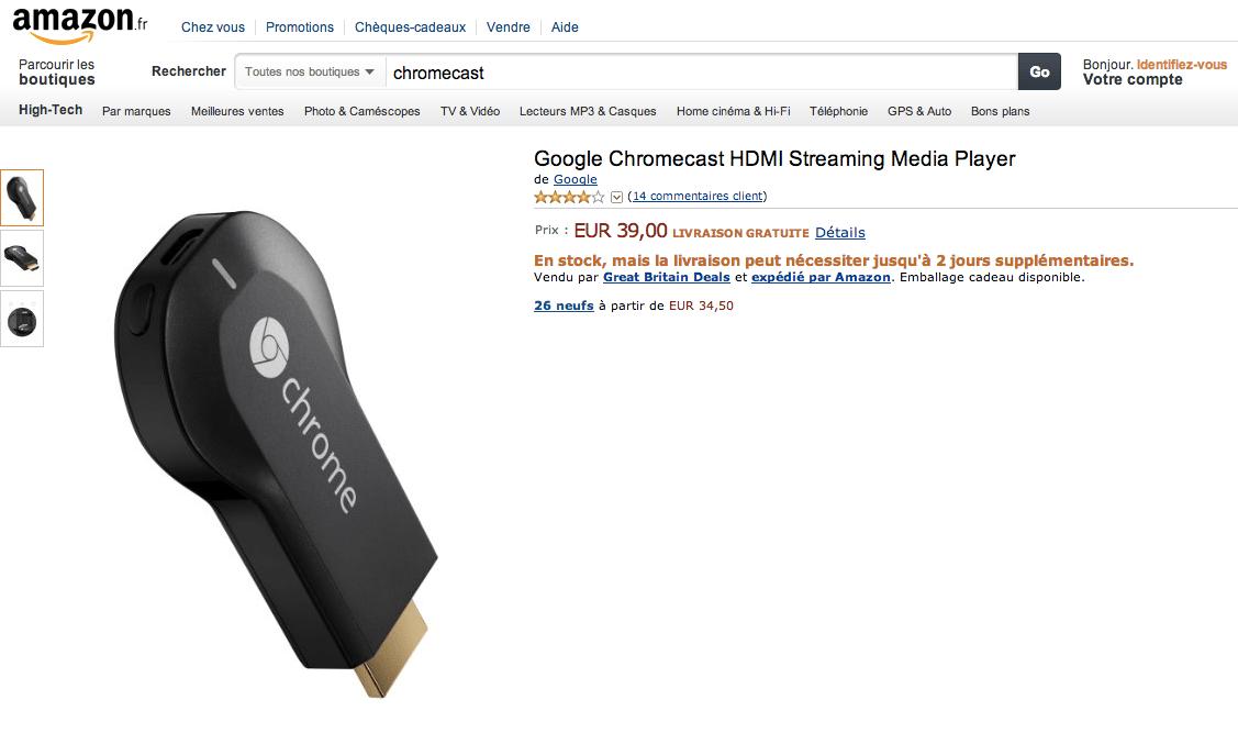 Le Chromecast est disponible à 39 euros sur Amazon France