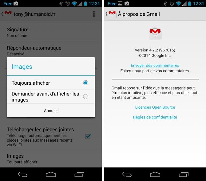 Gmail 4.7.2 : activer ou désactiver les illustrations dans les mails sur Android