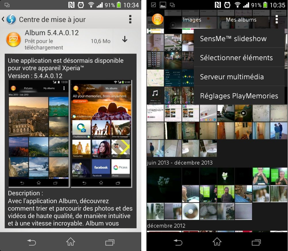 Sony Xperia : l'application Album accueille le mode immersif
