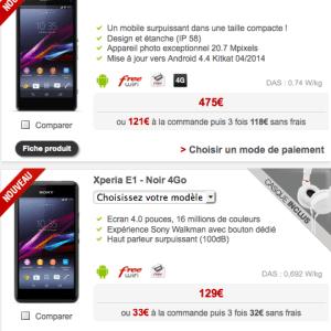 Free Mobile : les Xperia Z1 et E1 s'invitent en boutique