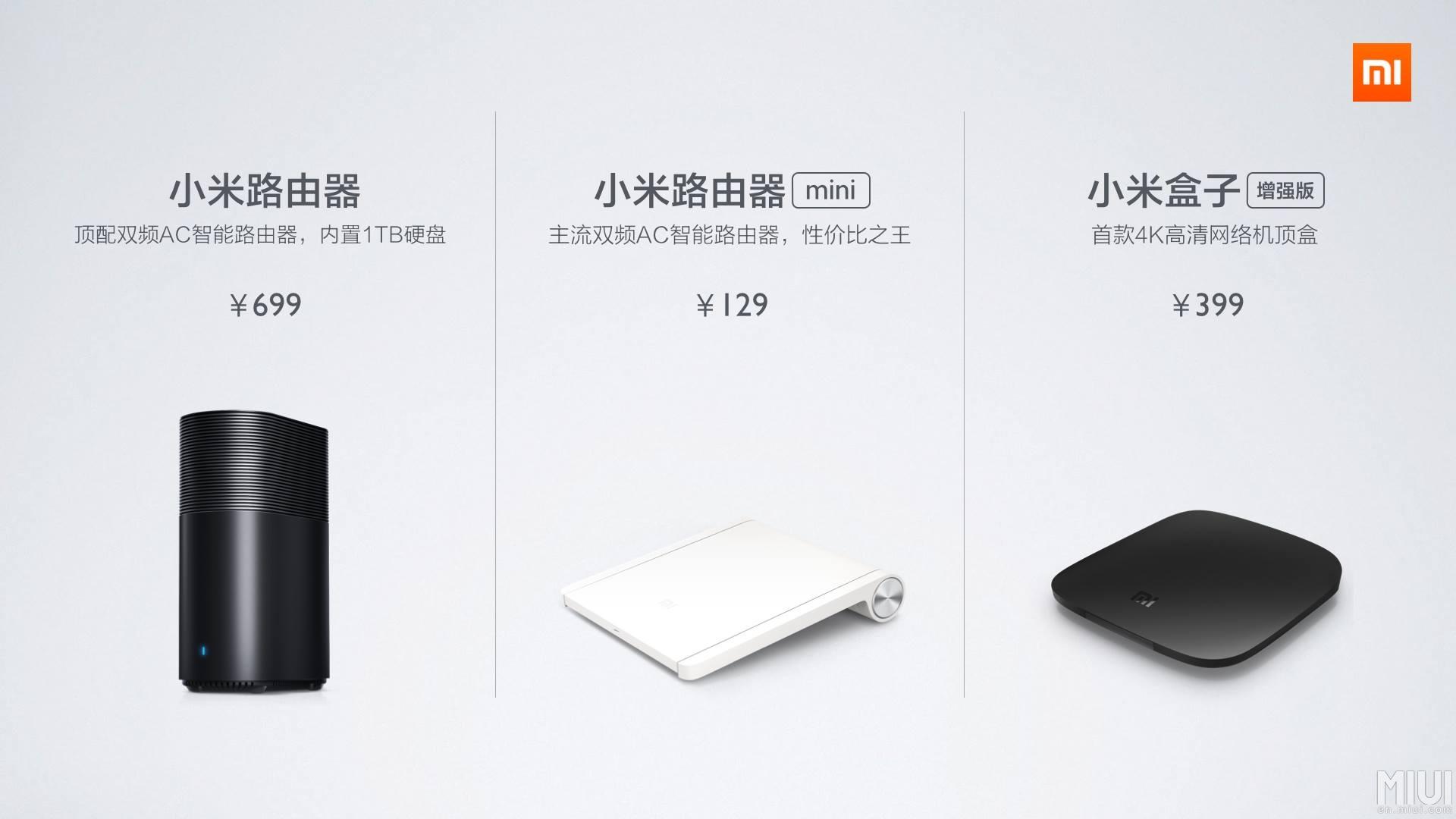 Xiaomi dévoile ses routeurs WiFi (MiRouter) et une nouvelle version de sa box HDMI (Mi Box)