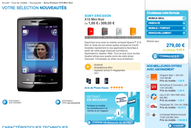 Le Sony Ericsson X10 mini en vente sur The Phone House et Virgin Mobile