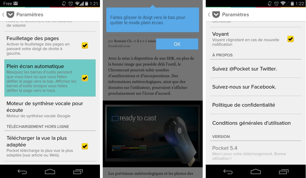 Pocket : l'appli accueille le mode immersif sur Android