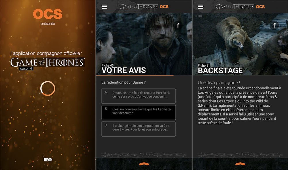 Game of Thrones S4 Officiel, l'application compagnon de OCS dédiée aux fans de la série