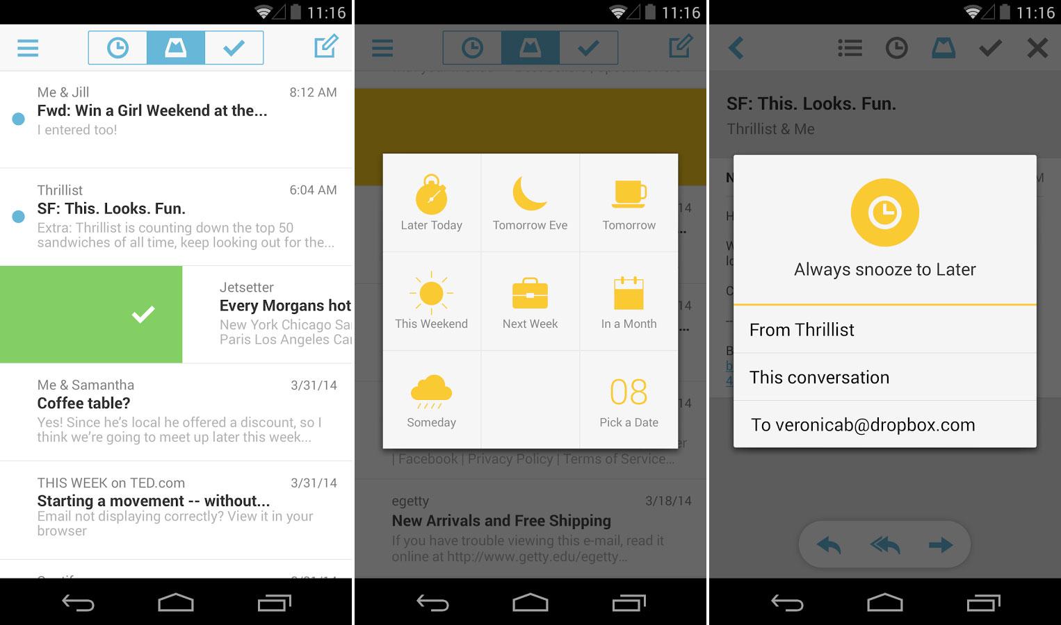 Mailbox pour Android : la messagerie de Dropbox n'est plus l'exclusivité d'iOS