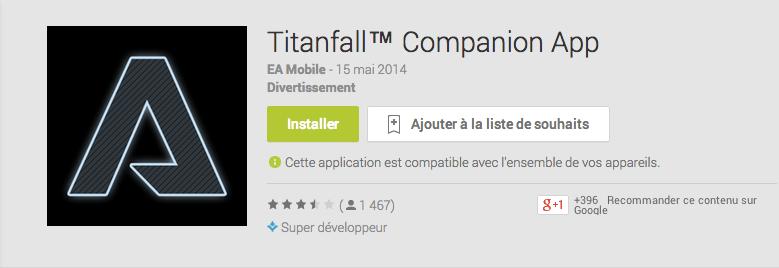 Titanfall : une app Android compagnon pour le FPS d'EA