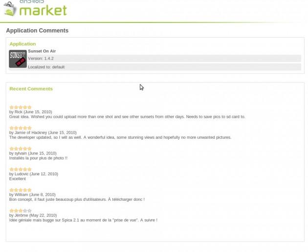 Android Market montre maintenant les commentaires aux développeurs