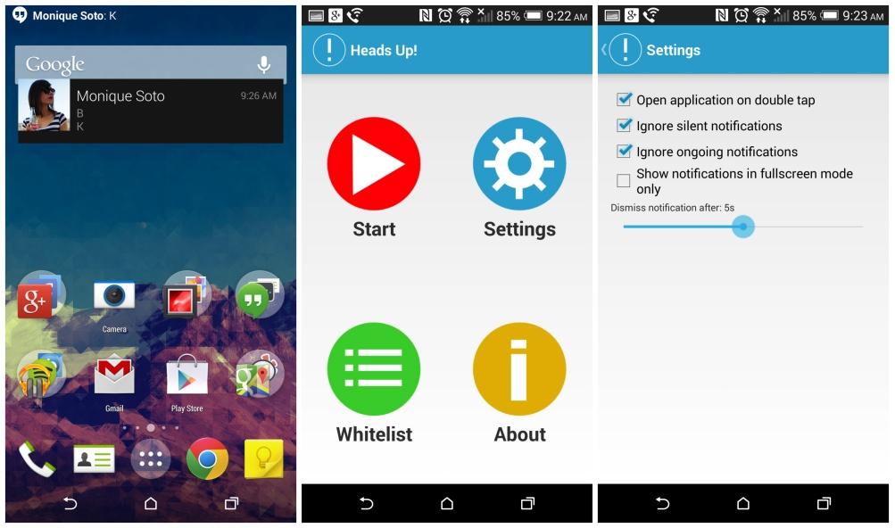 Heads Up!, une app dédiée aux notifications d'Android L sur le Google Play