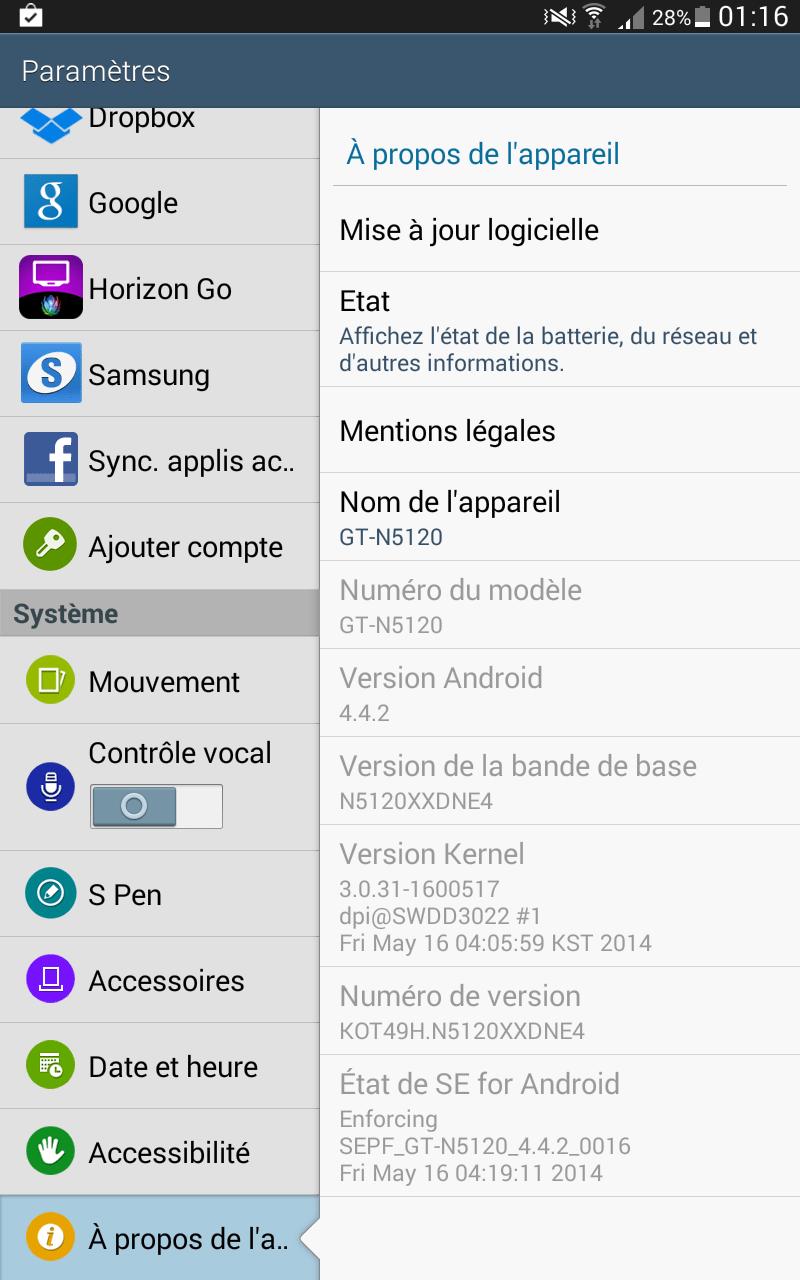 La tablette Samsung Galaxy Note 8 reçoit KitKat en Suisse