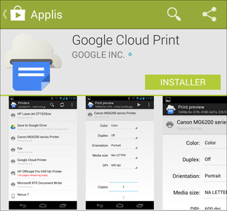 Aperçu de l'application Cloud Print sur Android