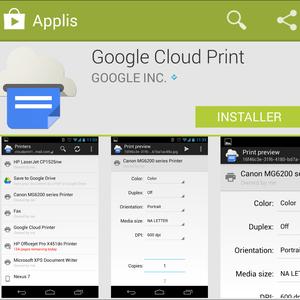 Aperçu de l'application Cloud Print sur Android