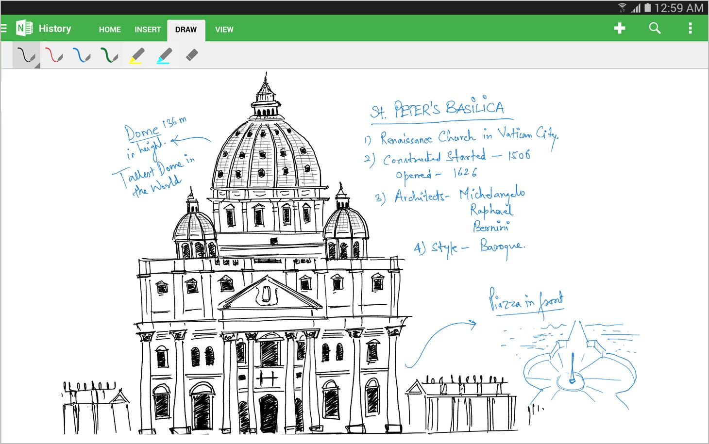 OneNote pour Android vous laisse désormais prendre des notes à la main et dessiner