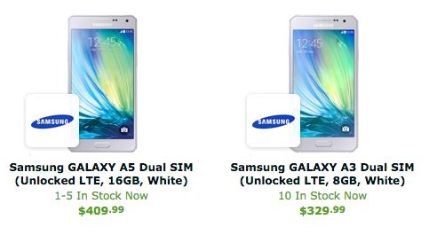 Les Samsung Galaxy A3 et A5 sont en vente aux États-Unis