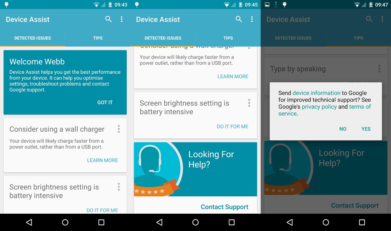 Google Device Assist apporte son aide aux utilisateurs de Lollipop