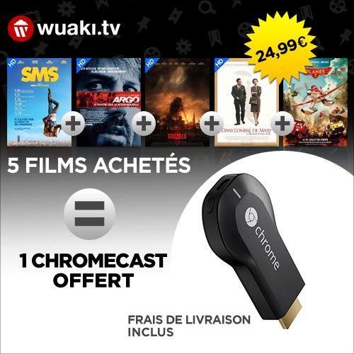 Offrez-vous un Chromecast avec 5 films pour 24,99 euros !