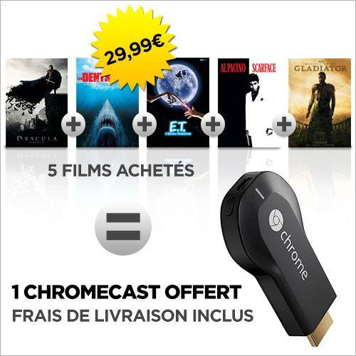 Le Google Chromecast est offert pour l'achat de 5 films à 24,99 euros