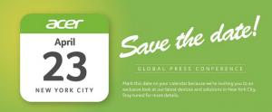 Acer prévoit une conférence le 23 avril à New York