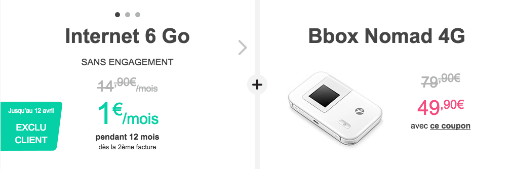 Le forfait 6 Go Bbox Nomad 4G à 1 euro par mois chez Bouygues Telecom