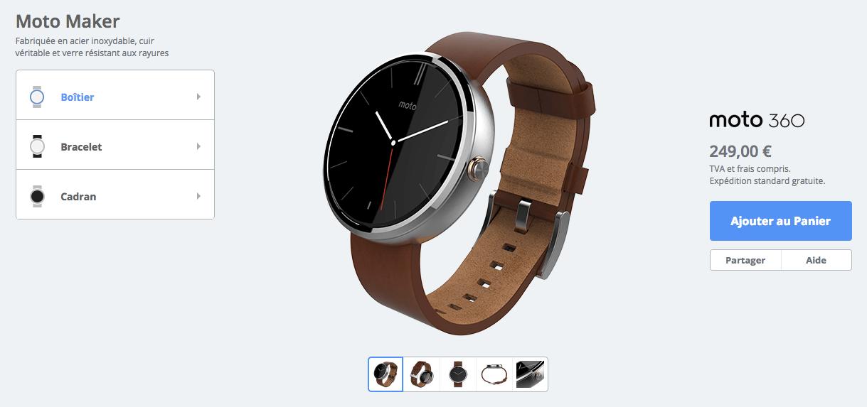 La Moto 360 est maintenant disponible sur le Moto Maker