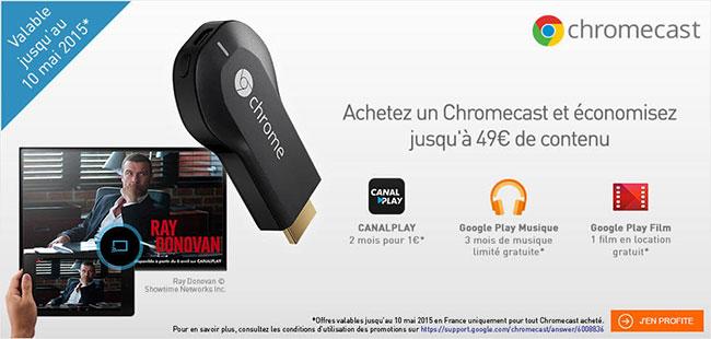 Bon plan : Avec un Chromecast à 35 euros, bénéficiez de 49 euros de contenus offerts