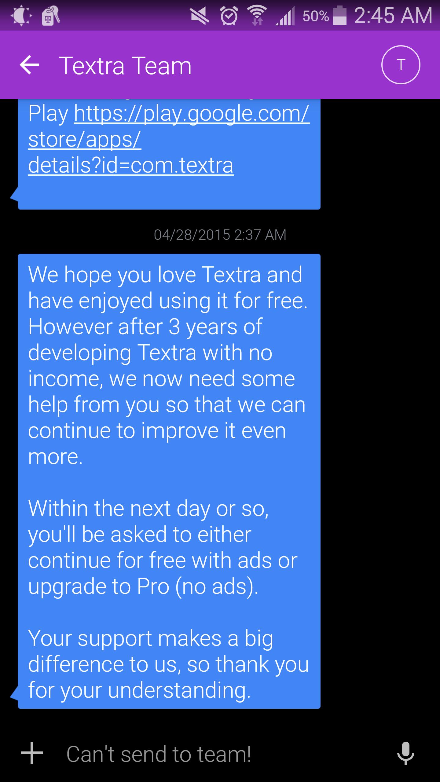 Textra SMS gratuit, c'est fini