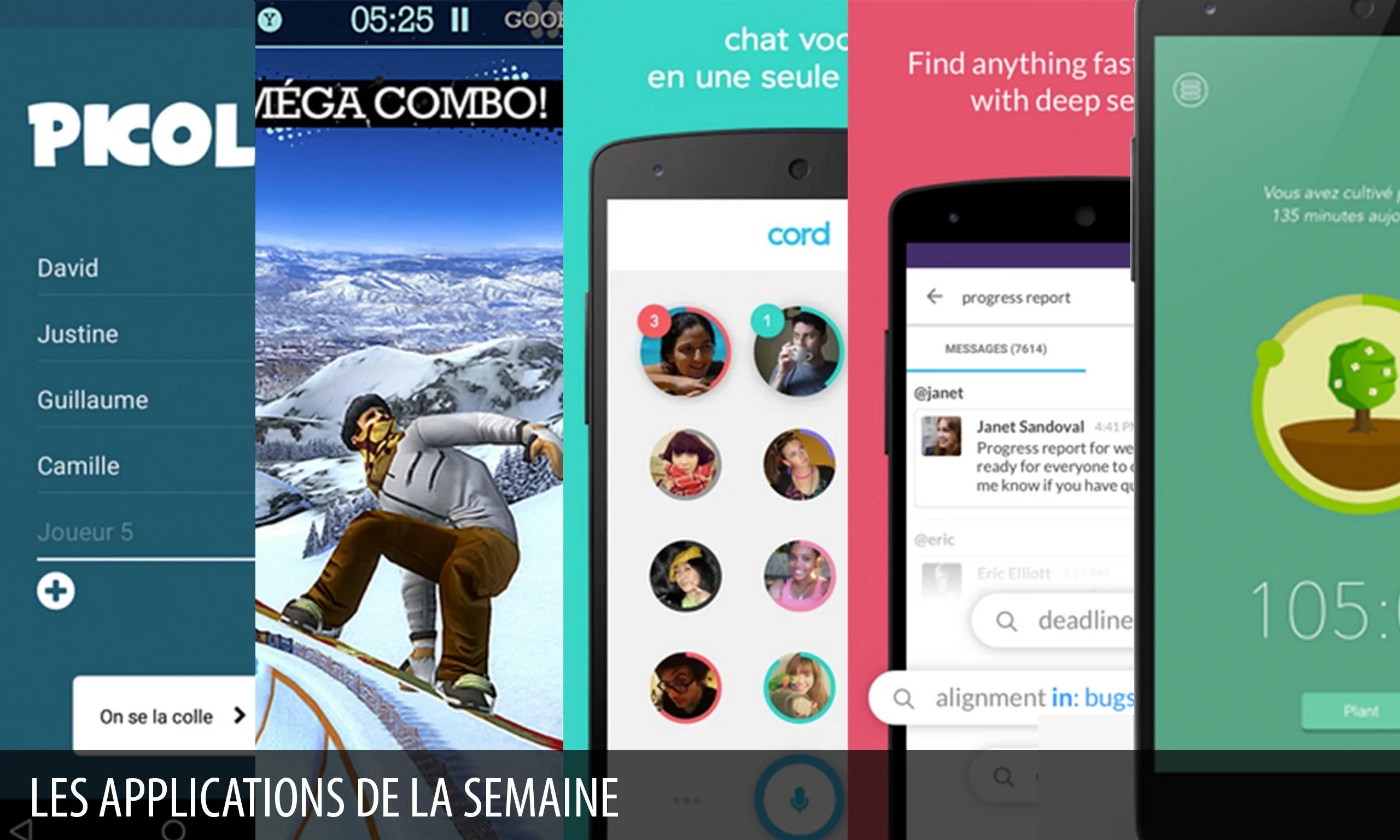 Les apps de la semaine : Picolo, Snowboard Party Lite, Cord, Slack, Forest : stay focused