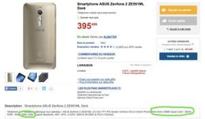 Asus Zenfone 2 (ZEM551L) : gare aux tromperies sur ses caractéristiques