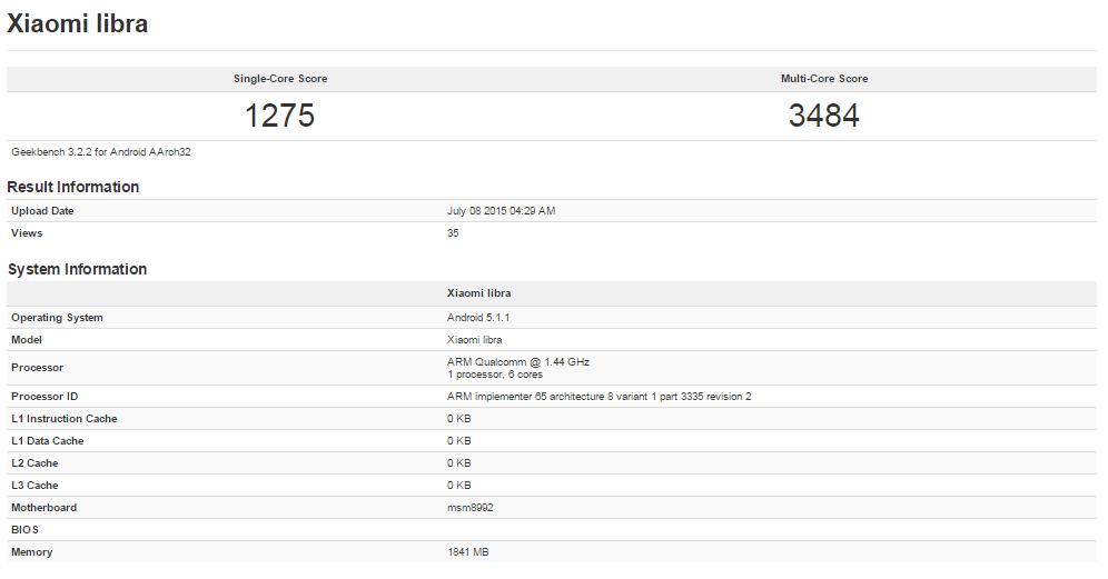 Xiaomi Libra : un smartphone équipé d'un Snapdragon 808 aperçu sur un benchmark
