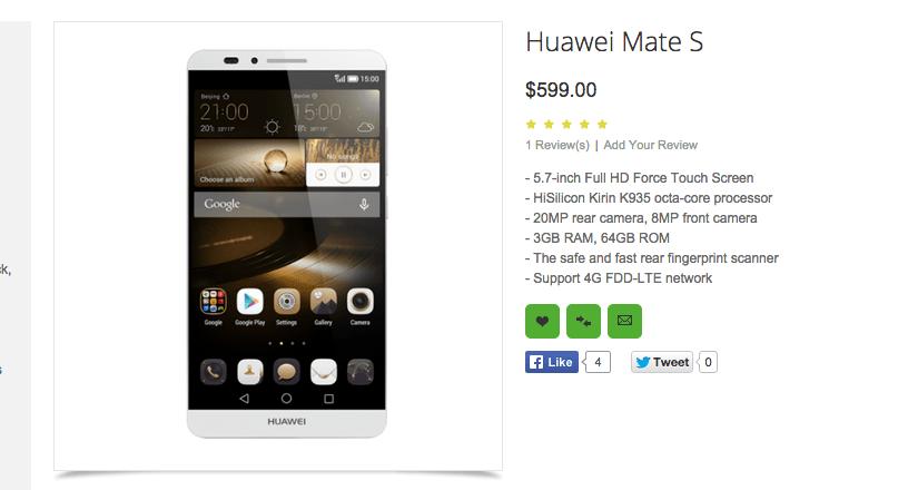 Huawei Mate S : un revendeur liste également un écran Force Touch