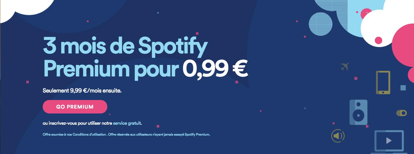 Spotify : 3 mois d'abonnement premium pour 0,99 euro