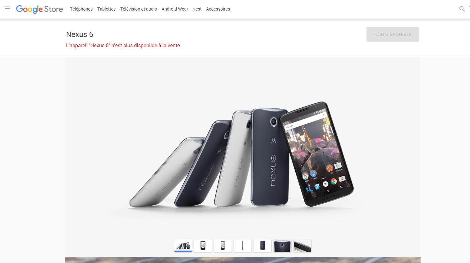 Le Google Nexus 6 déserte déjà le Play Store