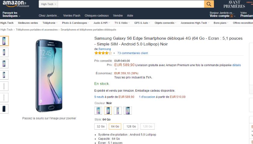 Bon plan : Le Samsung Galaxy S6 Edge (64 Go) à 539 euros sur Amazon