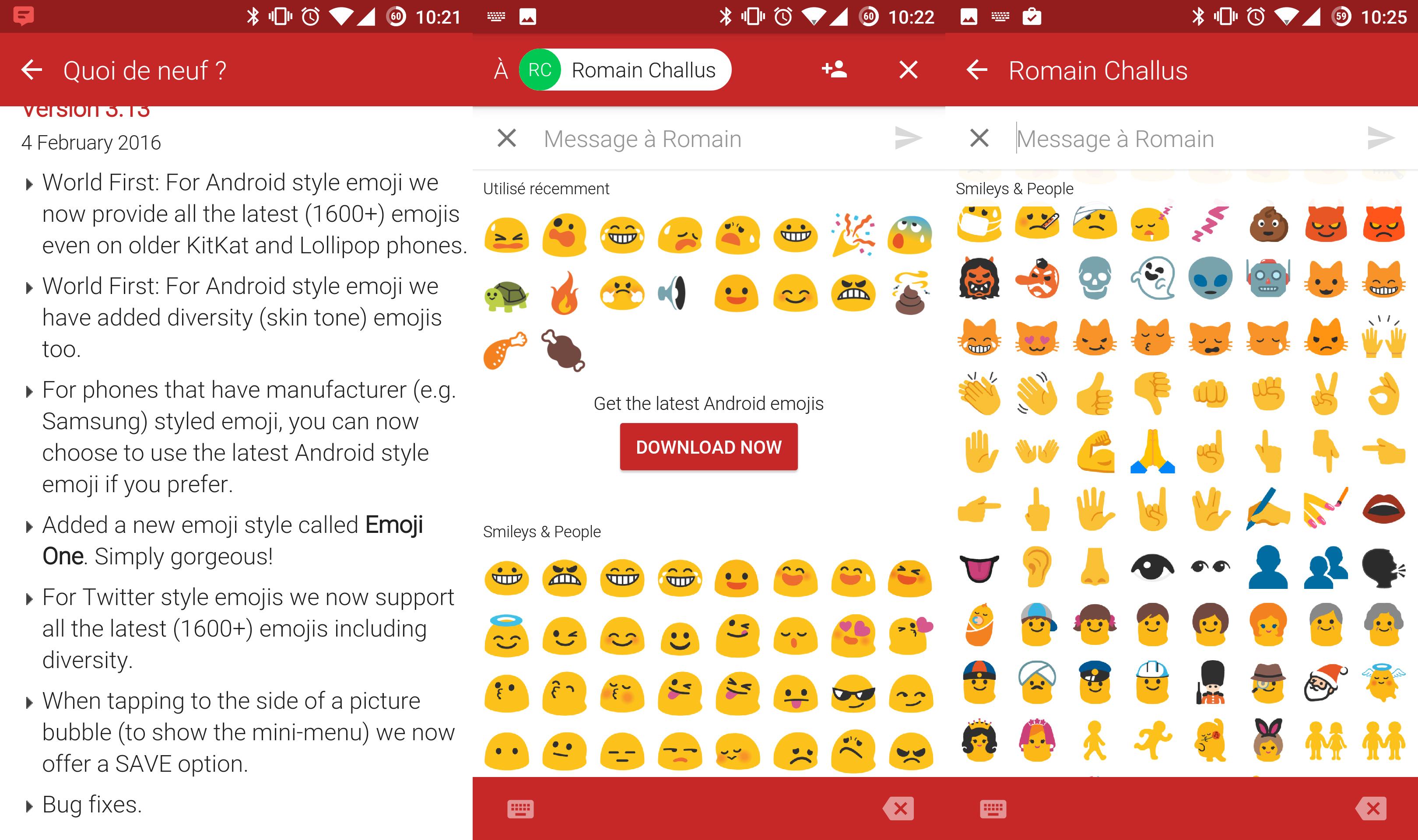 Textra SMS, tous les nouveaux emojis sont là
