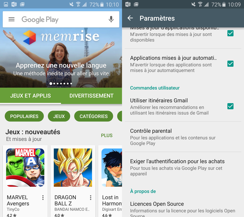 Google Play Store, des recommandations à partir de vos messages Gmail