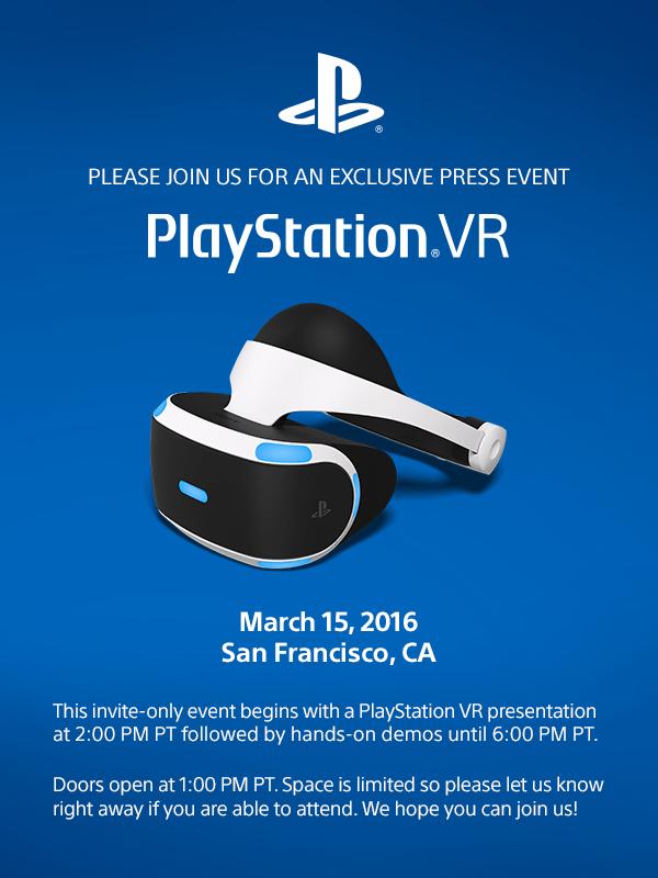 Sony PlayStation VR, une conférence est prévue pour le 15 mars