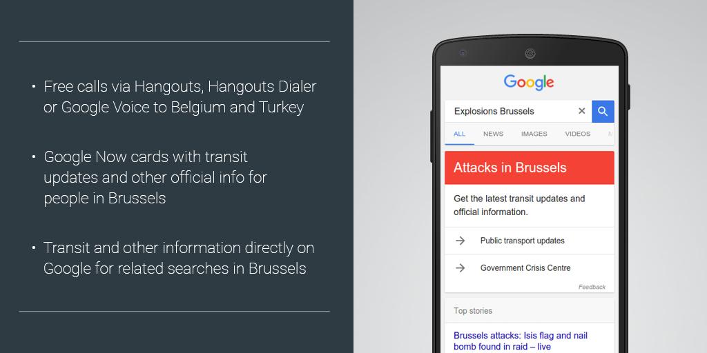 Attentats : Google rend gratuits les appels vers la Belgique et la Turquie