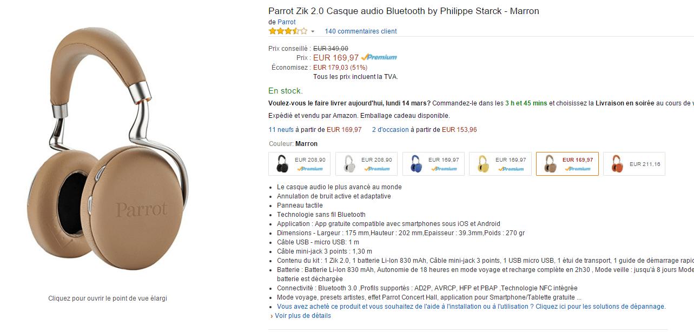 Bonne affaire : Parrot Zik 2.0 à 170 euros sur Amazon