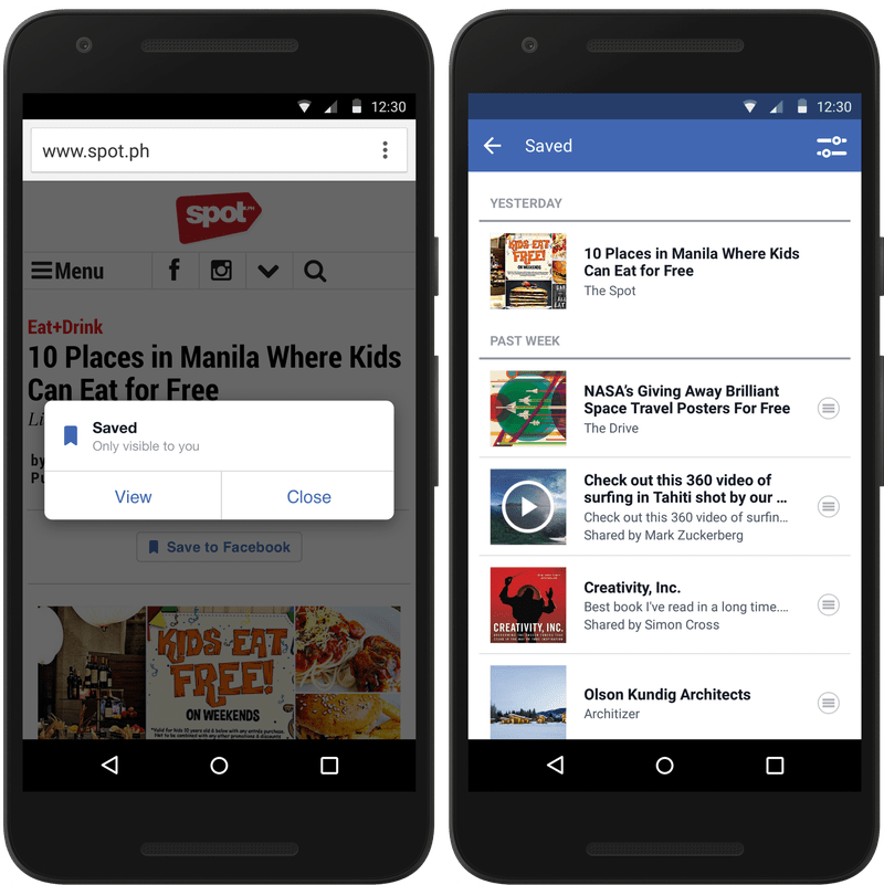 Facebook : Un bouton «Enregistrer» met en avant une fonctionnalité trop discrète