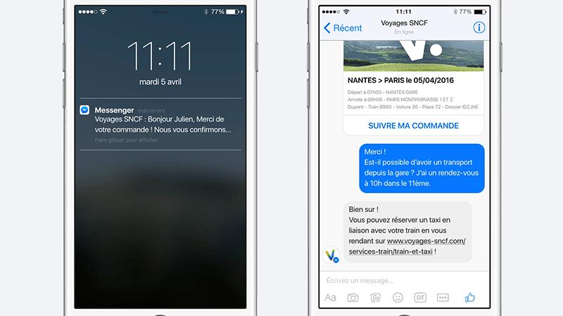 Quand Facebook Messenger vient compléter l'app Voyages-SNCF