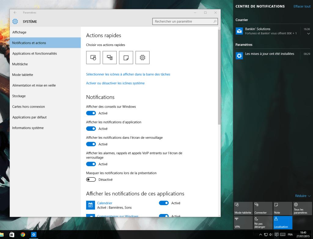 La prochaine version de Windows10 permettra de recevoir ses notifications Android sur son PC