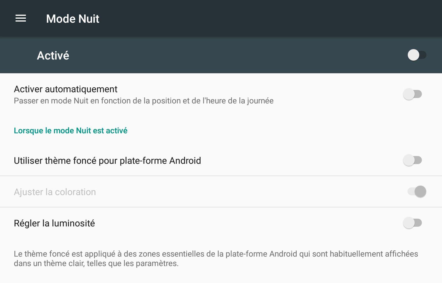 Le thème sombre ne sera probablement pas présent dans la version finale d'Android N