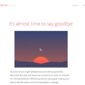 Sunrise disparaît, au profit d'Outlook